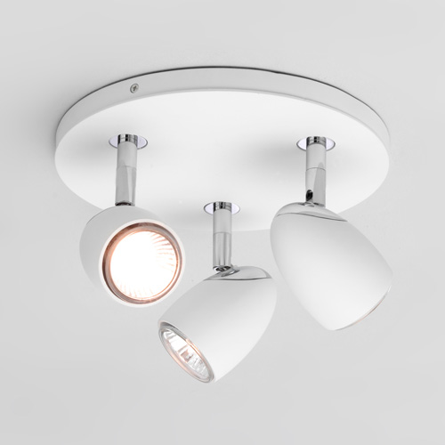 Bathroom sensor lights - Ax6114 Ovale Triple Ceiling White Spotlight On Round