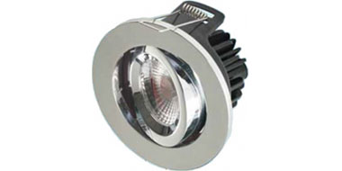 10W Adjustable Dimmable Fire Rated LED Downlight 3000K in Chrome 560lm 79mm cutout