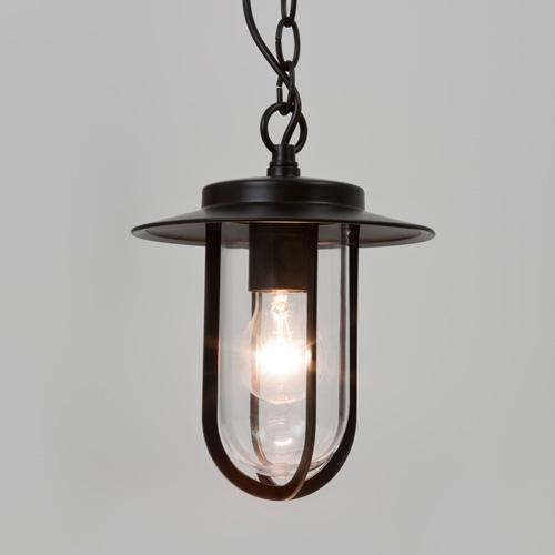 Montparnasse Black Pendant With Clear Glass IP44 Exterior Black Hanging Lamp