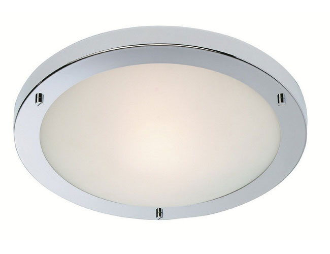 Firstlight Slimline Led Bathroom Wall Light In White: IP44 11W Rondo LED Flush Bathroom Light In Chrome