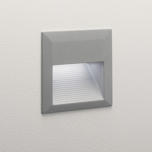 AX0944 Tecla LED Square Exterior Recessed Wall Light In Painted Silver 12 X