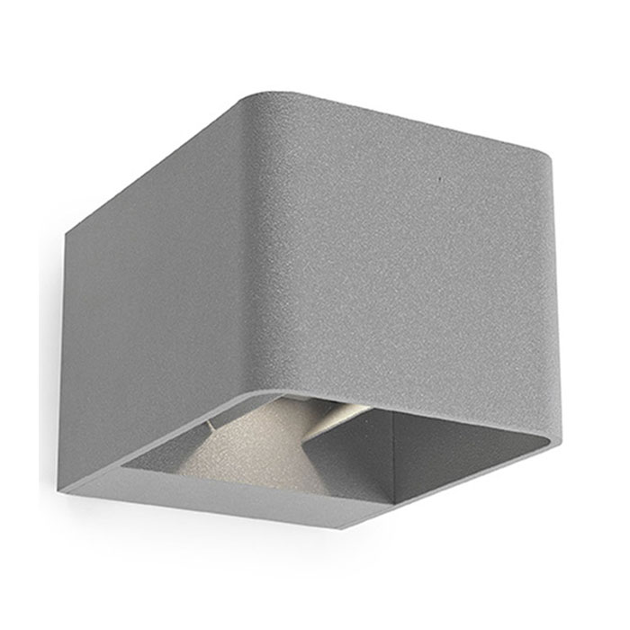 Lx163 Wilson Outdoor Led Wall Lamp In Satin Grey Ip65 Using 6 X 1w Led 3000k Up And Down Light