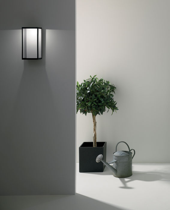 puzzle outdoor wall led light in black with clear glass 3w led ip44