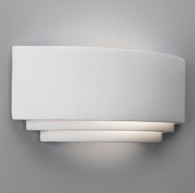 Retrouvius Wall Lights : AX0423 - Amalfi Ceramic Wall Light in White, Paintable Stepped Up-and-Down Astro 0423 Wall Lamp