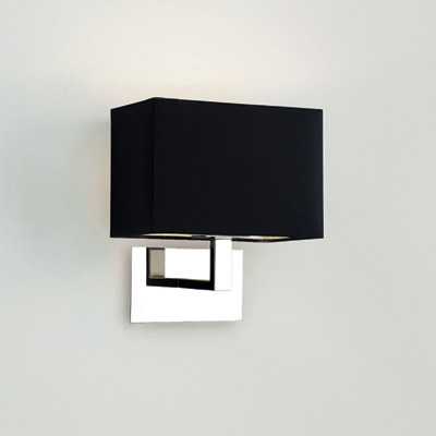 Connaught Polished Chrome Wall Light with Black Fabric Shade, Astro Lighting 0567 AX0567