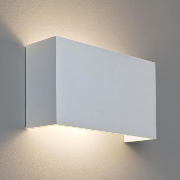 Pella 325 Rectangular Plaster Wall Lamp Paintable For Up