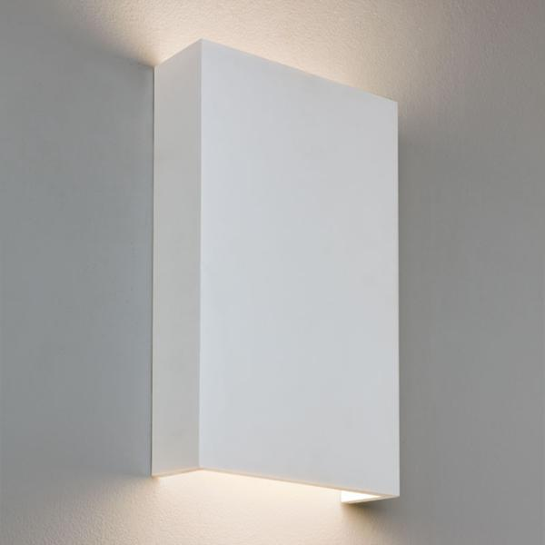 Paintable Plaster Wall Lights : Rio 190 14W LED Plaster Wall Light, Rectangular White Paintable Up-and-Down Light (driver ...