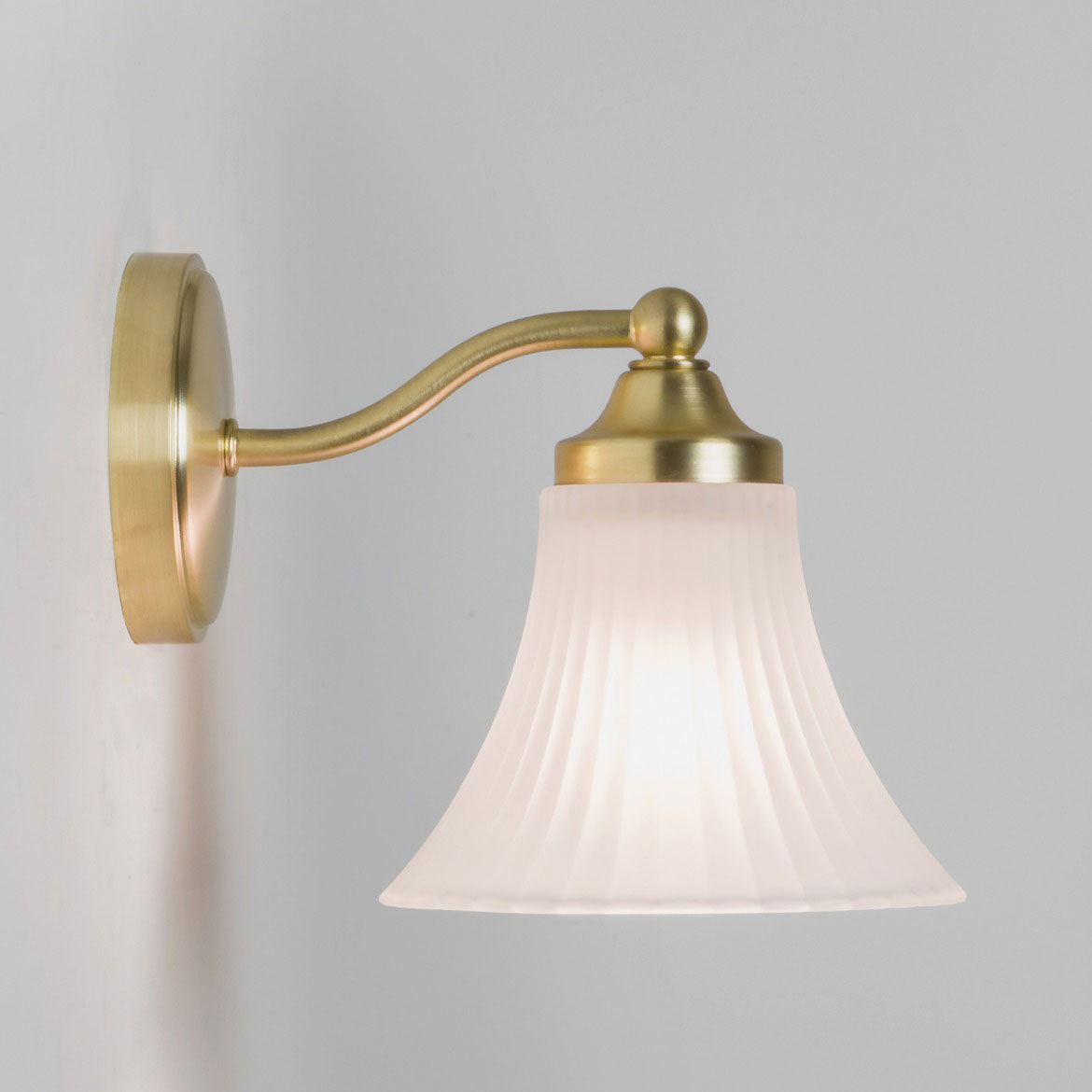 Nena Bathroom Wall Light In Matt Gold With White Opal Glass Bell Shaped Diffuser Ip44 Rated
