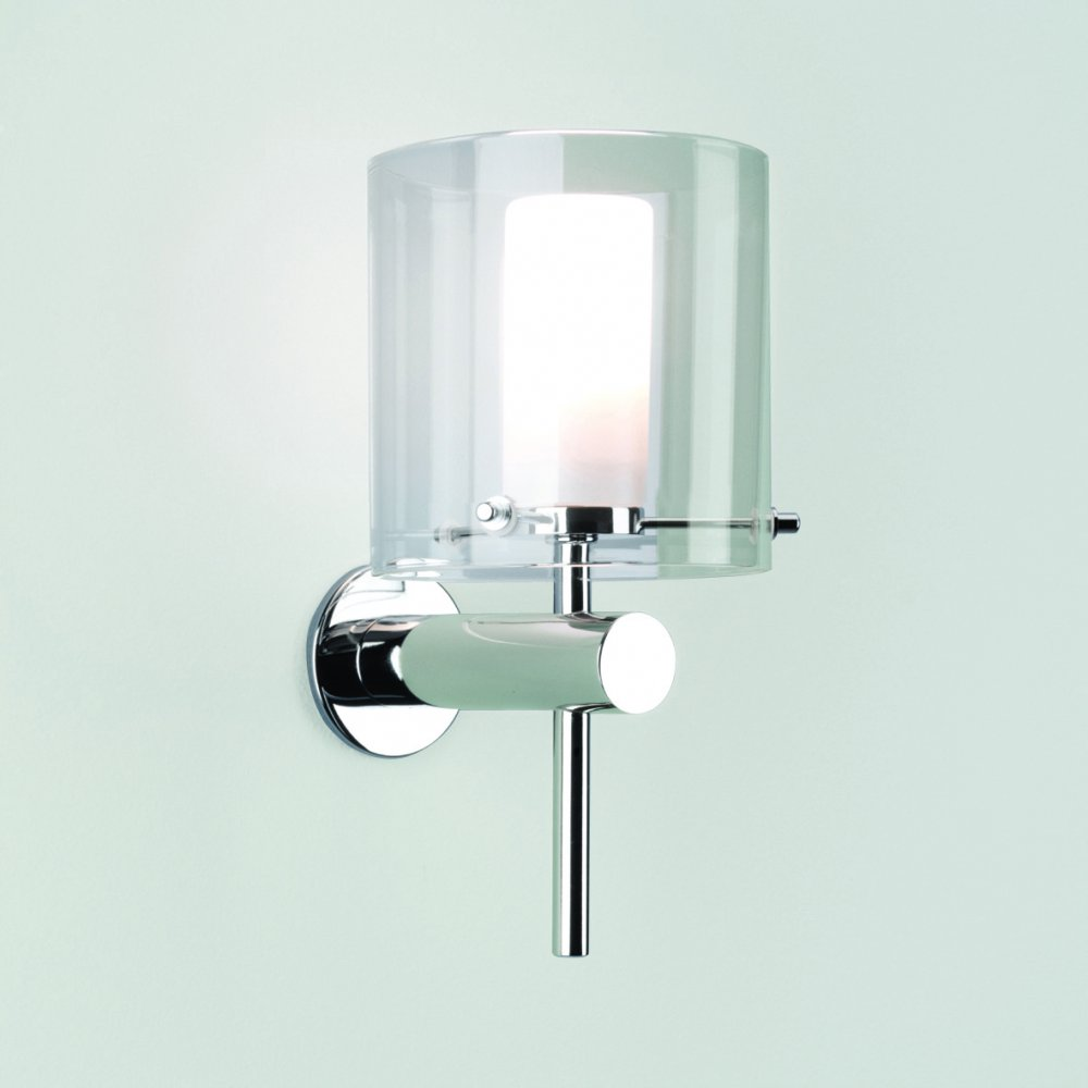 Bathroom Wall Light Bulbs : Arezzo 0342 Bathroom Wall Light IP44 Polished Chrome Arm and Clear Outer Shade AX0342