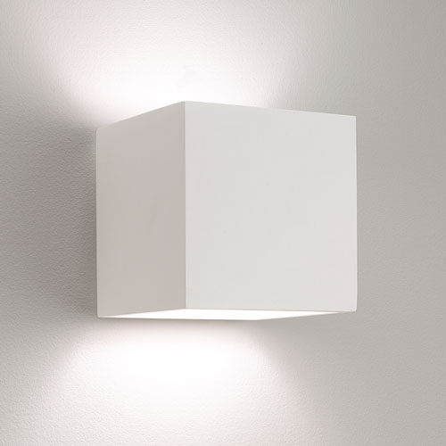 Pienza Plaster Square Wall Light, Paintable white Astro 0917 plaster wall fitting AX0917 ...