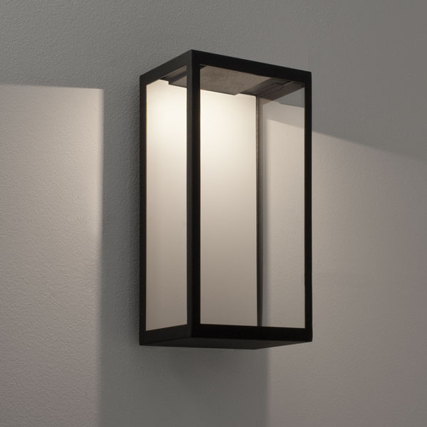 AX0931   Puzzle Outdoor Wall LED Light In Black With Clear Glass, 3W LED  IP44 Rated