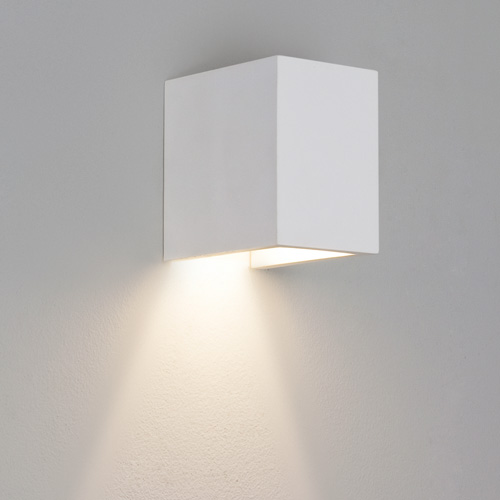 Parma 110 White Plaster Wall Light, Paintable Astro 7076 Small Interior Wall Lamp AX7076