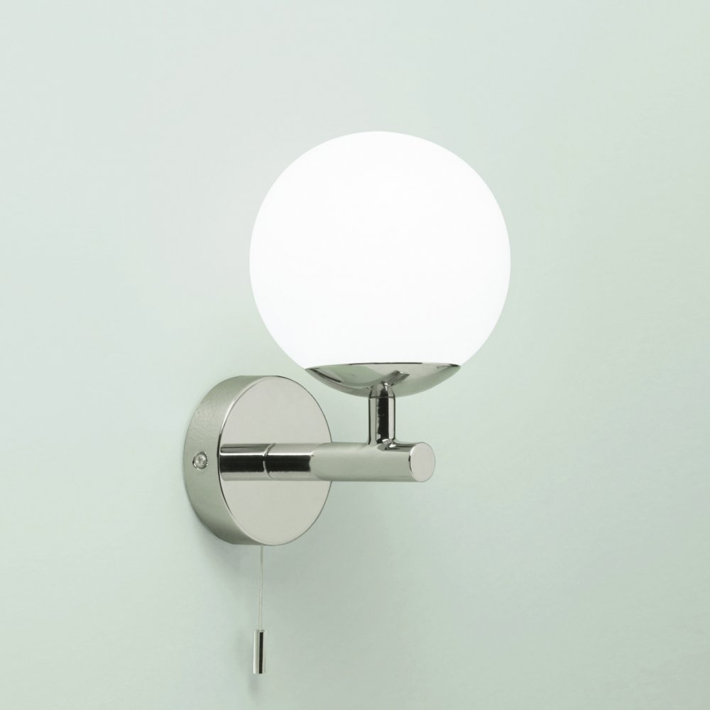 California Ip44 Wall Light With Round Opaque White Shade