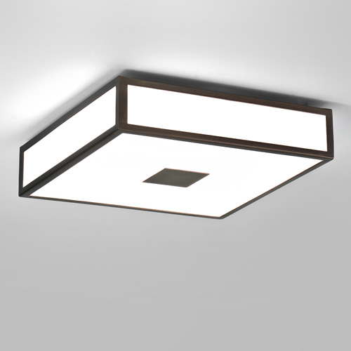 mashiko 300 bronze square bathroom ceiling light with white diffuser ip44 2 x 18w 2g11 ax0639