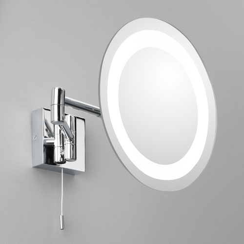 ax0356 genova round magnifying mirror with light and pull cord switch chrome swing arm mirror