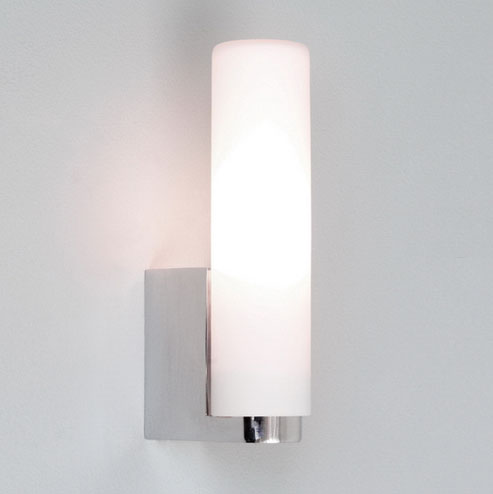 Tulsa Bathroom Tube Wall Light In Polished Chrome With White Opal Glass Diffuser Ax0327