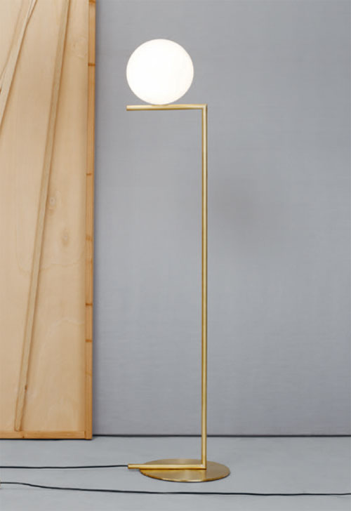 Fz605 Flos Ic F1 Brass Floor Light Small With 20cm Opal