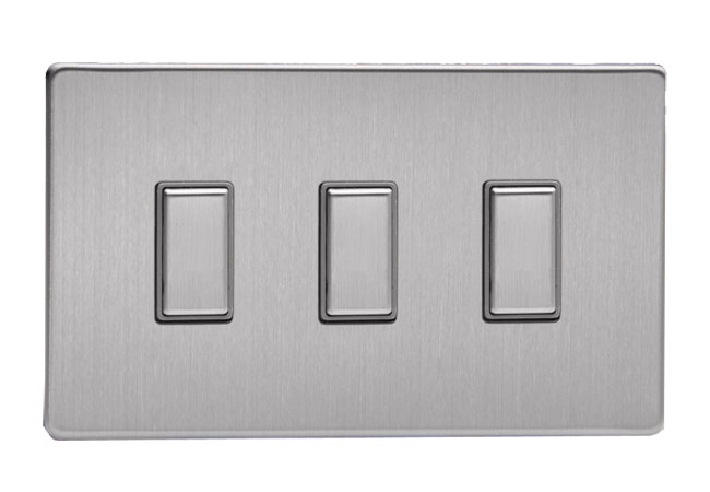 Modern Chrome Ice Cube 3 Way Ip44 Bathroom Ceiling Light: 3 Gang Brushed Steel Tactile Touch Control