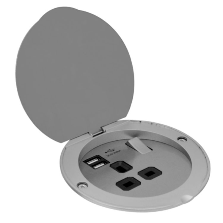 Floorb1 1 Gang 13a Recessed Socket With 2 Usb Charger