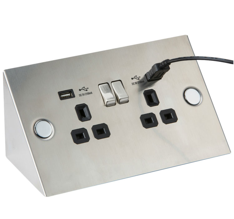 Knightsbridge Flat Plate 13A 2G 2 Gang Switched Socket with Dual 2x USB Charger