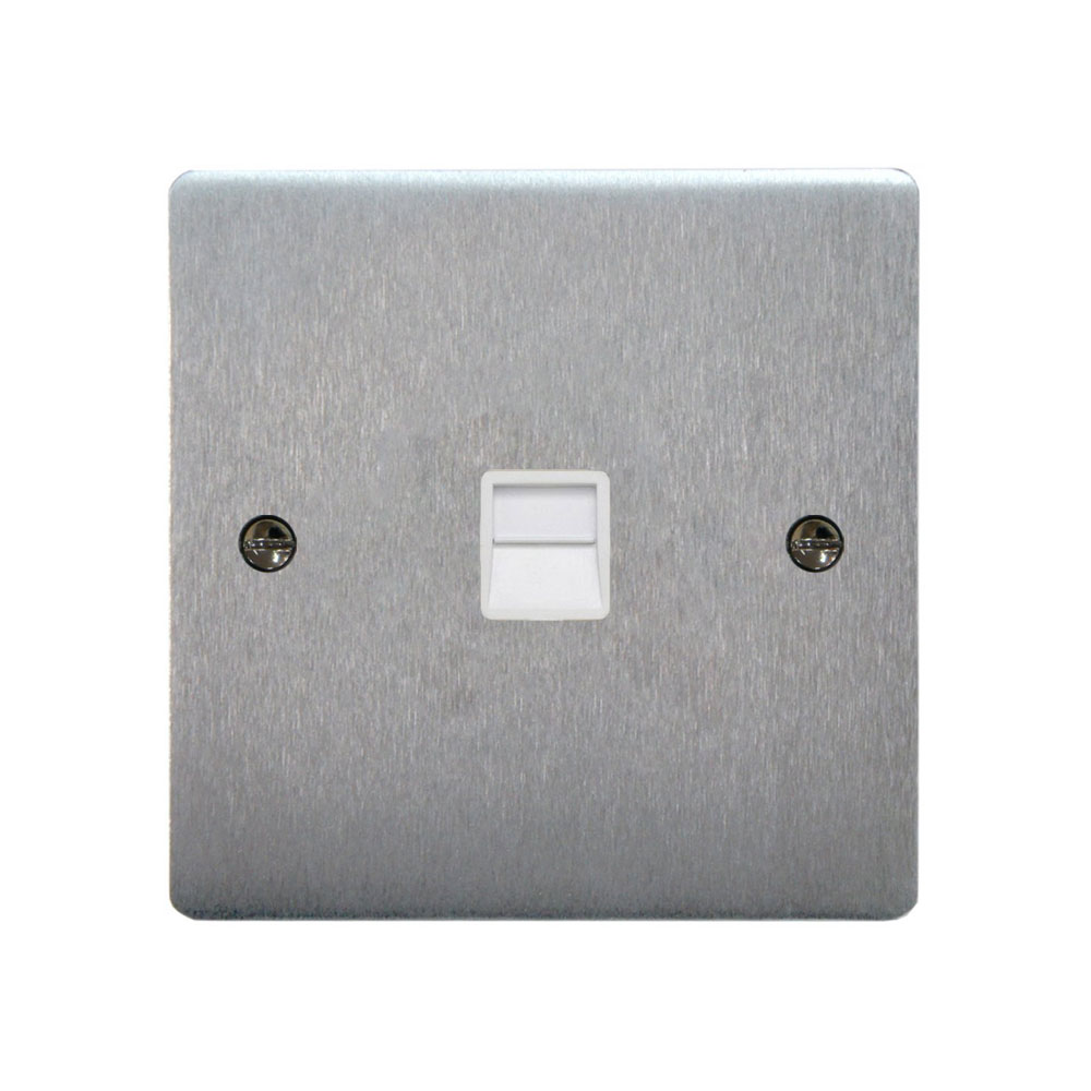 Single Telephone Extension Socket Flat Plate Satin Brushed Stainless Steel Slim