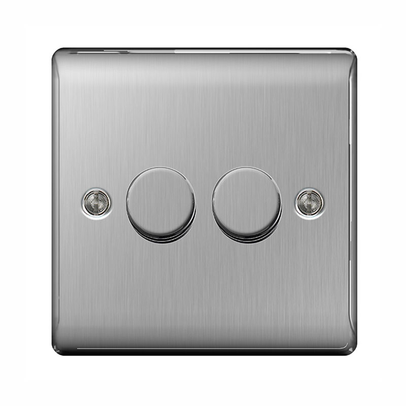 Satin Chrome Twin Dimmer Switches 2 x BG Nexus NBS82P Brushed Steel