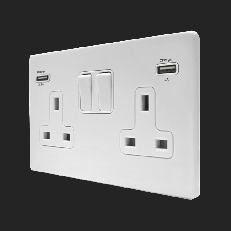 7wcusb99 White Screwless 2 Gang 13a Switched Socket With