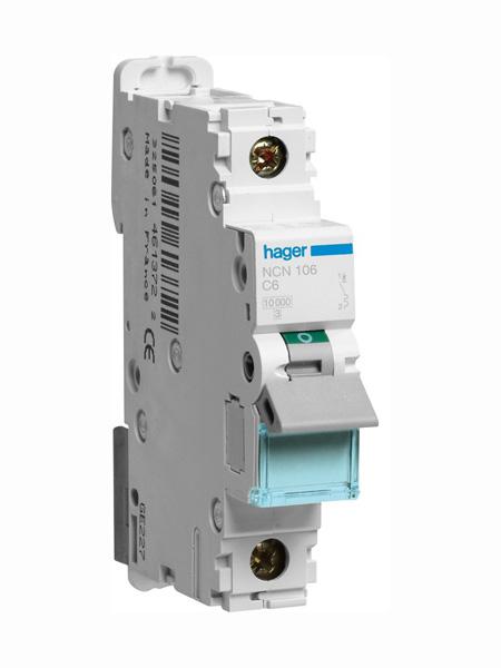 Nc106 Hager Ncn106 6a Type C Single Pole Mcb 10ka Mini Circuit Breaker 1p C 6a 1m