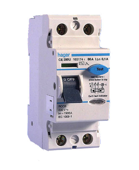 Hager CE280U 80A RCCB Double Pole 100mA AC Class 100V-230V, Hager 2P RCD
