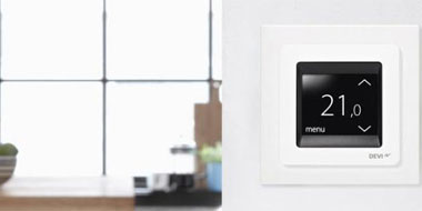 DEVIreg Touch screen programmable thermostat with design frame, DEVImat intelligent thermostat