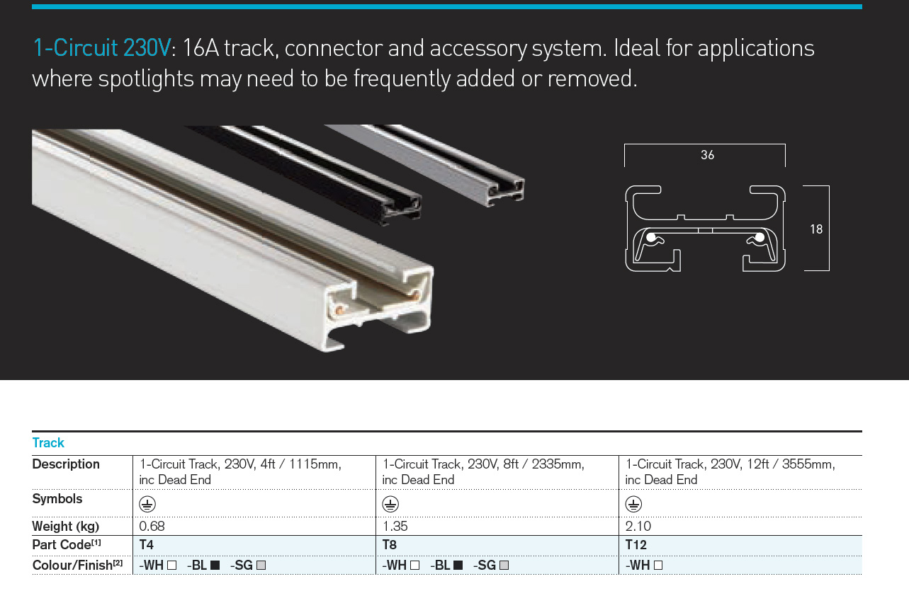 The Illuma 1-circuit 230V Track System - the Track (lengths)