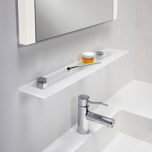 Glass shelf for bathroom polished chrome with frosted for Bathroom glass shelves