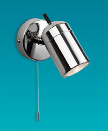 Atlantic Single Bathroom Wall Light, switched single bathroom wall spotlight in chrome 9050CH