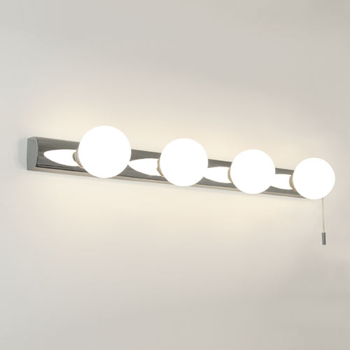 Ax0499 cabaret bathroom wall light 4 globe lights on a chrome ax0499 cabaret bathroom wall light 4 globe lights on a chrome base with pull cord switch aloadofball Gallery