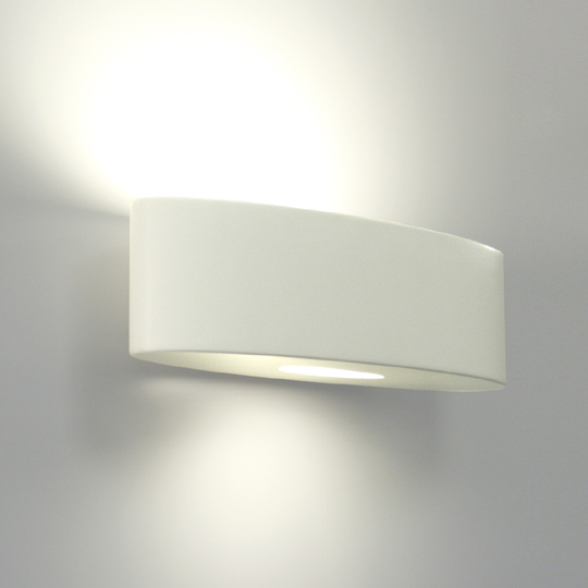 Ovaro 0554 Wall Lamp, Oval Ceramic Up-and-Down Light in white, paintable lamp AX0554 Astro ...