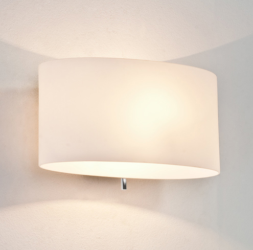 Switched Wall Light White : Tokyo 0569 switched wall light, White Opal Glass diffuser, integral toggle switch AX0569