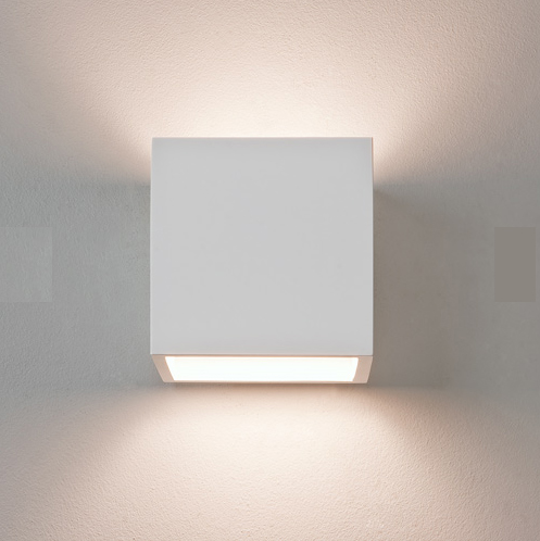 White Dimmable Wall Lights : AX0917 - Pienza Plaster Square Wall Light, Paintable white Astro 0917 plaster wall fitting