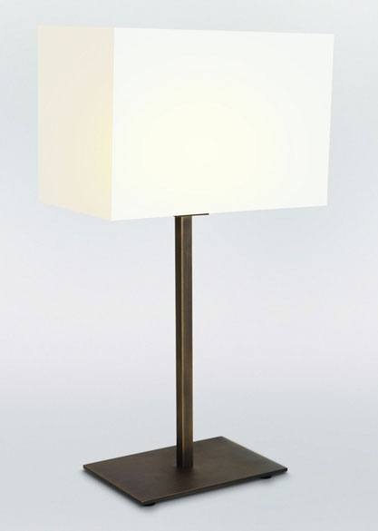 table lamp in bronze with a rectangular shade shade not included. Black Bedroom Furniture Sets. Home Design Ideas