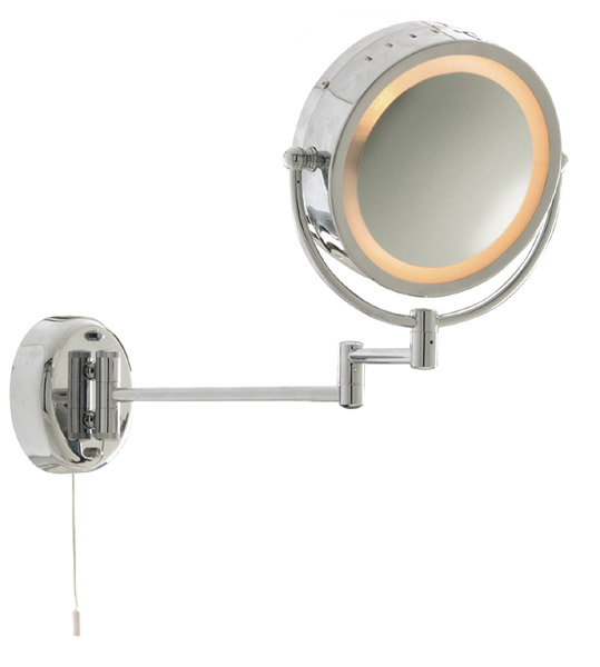 11824 - Bathroom Round Mirror with Adjustable Arm and Pull Cord Switch in Polished Chrome