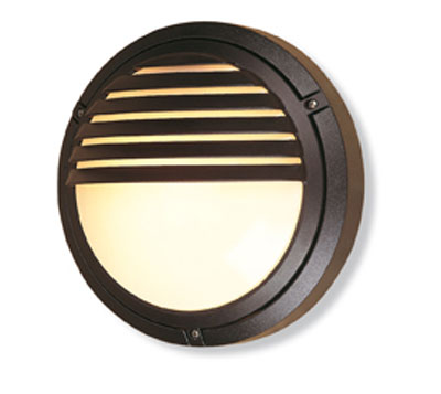 Verona round outdoor wall light in black grilled eyelid ip54 diecast aluminium v405bl for Round exterior lights