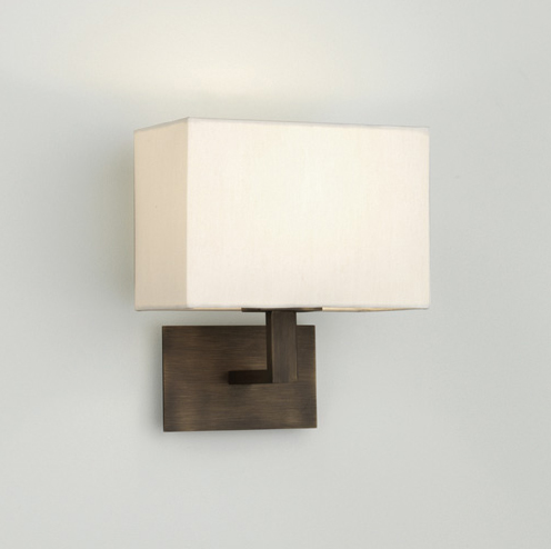 Lampshades For Wall Lights : AX0500 - Connaught 0500 Bronze Wall Light with White Fabric Shade, IP20 60W E14 wall lamp