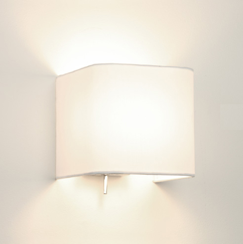 Square Wall Lamp Shades : Ashino 0766 Square Wall Light with White Fabric Shade, switched wall lamp AX0766 Astro ...