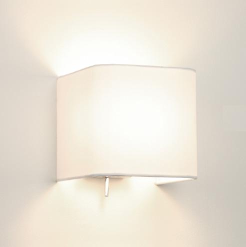 Ax0766 Ashino 0766 Square Wall Light With White Fabric